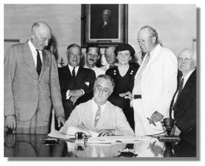 FDR Social Security signing